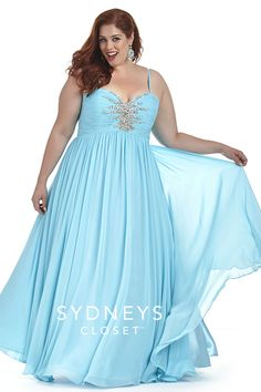 The Starburst dress from Sydney's Closet is back in a #new beautiful sky blue! This popular gown is perfect for so many occasions. Wear it to #Prom as a #Bridesmaid or even on a #Cruise. No matter where you don this plus size dress you'll shine! Sold in sizes 12 to 40 in over 9 colors!