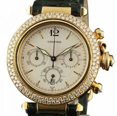 Cartier Pasha Chronograph Yellow Gold Diamonds 38mm Watch