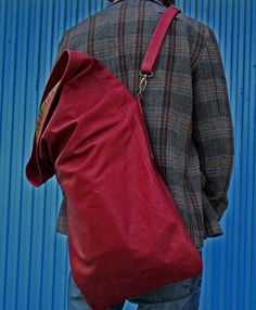 """Large Leather Bag, Backpack / Messenger in a very fine and soft (old red) leather - """"Just a BIG. €180.00, via Etsy."""
