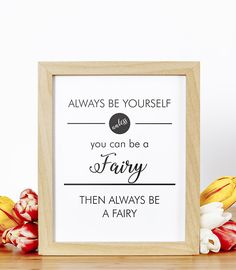 Childrens Typography Art Print, Be a Fairy, Printable Poster, Quote Printables, Wall Art Decor, PDF Quotes, Nursery, Girls Room Art Prints
