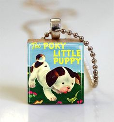 Scrabble Tile Jewelry The Poky Little Puppy Golden Book Cover Vintage Children's Books, Vintage Movies, Scrabble Tile Jewelry, Domino Jewelry, Styrofoam Crafts, Craft Show Ideas, Crafts To Make And Sell, Book Folding, Little Golden Books