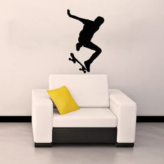 Skate Skateboard Skateboarder Board Sport Jump Street Wall Vinyl Decal Sticker Housewares Design Murals Interior Decor Home Bedroom SV4666