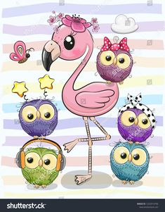 Cute cartoon flamingo and five owls Royalty Free Vector , Owl Cartoon, Cute Cartoon Animals, Cute Animals, Cute Animal Drawings, Cartoon Drawings, Easy Drawings, Doodle Art, Cute Images, Cute Pictures