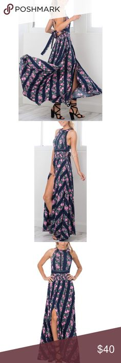 """Floral Print Maxi Dress with Braided Details Measurements: Bust: 33.7"""" Waist: (adjustable) 17.32""""-29.13"""" Length: 52.36"""" // Not Band of Gypsies just for exposure Band of Gypsies Dresses"""