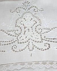 Antique Victorian Whitework Cutwork Pillowcases Pair-italian, filet,bridal,pillow, cases,linen