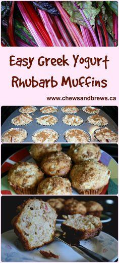 Easy Greek Yogurt Rhubarb Muffins ~ www.chewsandbrews.ca