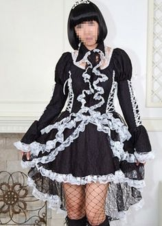 f5abdf147ba Black and White Gothic Goth Tea Length Short Wedding Dress on www.ueelly.com