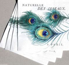 fRINGE Four (4) Single Cocktail Beverage Decoupage Napkins - Peacock Feathers | Home & Garden, Kitchen, Dining & Bar, Linens & Textiles | eBay!