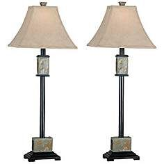 "Lamps+  $126  PAIR  32"" Kenroy Home Set of 2 Bennington Buffet Table Lamps"