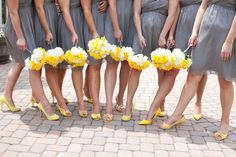 Bridesmaids, I'm beginning to think maybe we should do matching yellows ... these are just enough different shades to be pretty noticeable.  Thoughts?