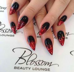 If you love red and black nail designs or looking for a special Halloween nail art look, get inspired by these fabulous red and black nail art designs! Black Ombre Nails, Dark Red Nails, Black Acrylic Nails, Red Stiletto Nails, Black Almond Nails, Coffin Nails, Halloween Nail Designs, Black Nail Designs, Nail Art Designs