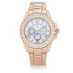 Rose gold tone gem encrusted watch River Island