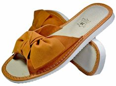 Ophelia Open Toe House Slippers For Women - Reindeer Leather1 Leather Slippers, Womens Slippers, Suede Leather, Reindeer, Open Toe, Footwear, Bow, Slip On, House