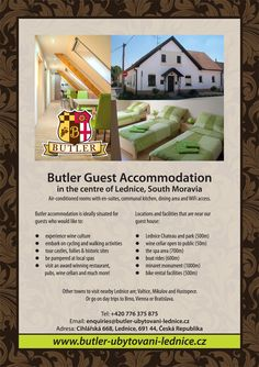 Butler Guest Accommodattion in Lednice, South Moravia, Cyech Republic