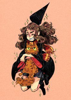 Hermione & Crookshanks! brittsart #harrypotter #fanart