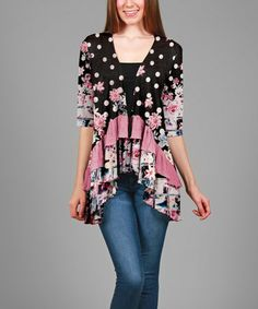 Loving this Black & Mauve Floral Ruffle Open Cardigan - Plus on #zulily! #zulilyfinds