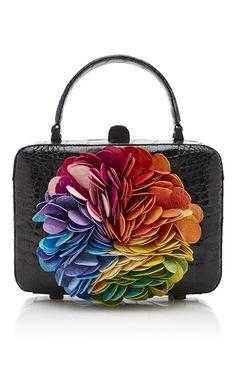 Floral Kaleidoscope Black Clutch Bag by Nancy Gonzalez Stylish Handbags, Purses And Handbags, Black Clutch Bags, Best Purses, Nancy Gonzalez, Beautiful Bags, Beautiful Clothes, Grab Bags, Luxury Bags