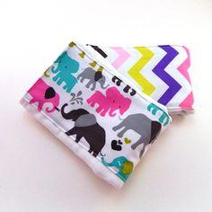 SALE Elephants & Chevron Baby Burp Cloths  by Sewingdreamsnotions