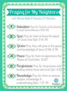 6 Days of Praying for Your Neighbor with Wendy Blight and Proverbs 31 Ministries