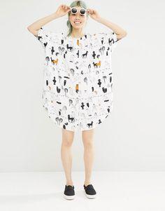 Image 4 ofMonki Printed Oversized Shirt Dress