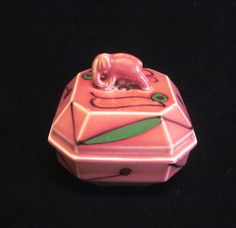 1930s Pink Elephant Powder Box Art Deco Ceramic Powder Jar Unused Powder Puff