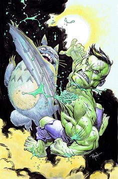 Ryan Ottley Hulk vs. Totoro ? inks and colored pencils what on earth? really? What!?