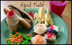 PB hot dogs, Mini-mashed potato ice cream cones, Runts and Starburst peas and carrots, Jello juice, Apple french fries w/frosting ketchup and Pound cake sushi.