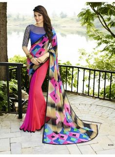 Buy Fancy Multi Color Georgette Printed Saree