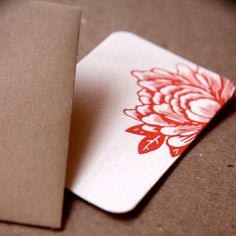 Scarlet Red Blossoming Flower Letterpress Mini Notes, Gift Notes, Stationery : 20 tiny flat cards w personalized envelope color choice
