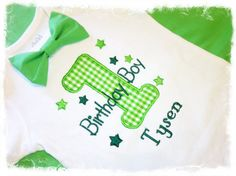 Boys First Birthday Onesie with Name-Green Gingham 1  with Geen Bow Tie Onesie on Etsy, $29.95