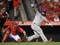 April 24, 2015; Anaheim, CA, USA; Texas Rangers first baseman Prince Fielder (84) hits an RBI single in the third inning against the Los Angeles Angels at Angel Stadium of Anaheim. Mandatory Credit: Gary A. Vasquez-USA TODAY Sports