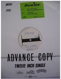 At £6.98  http://www.ebay.co.uk/itm/Junior-Too-Late-Advance-Copy-12-Single-Mercury-Records-MERX-112-/251160314606