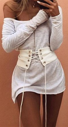 Kylie Street Chic Outfit White Cotton Suede Wide Sexy Corset Belt