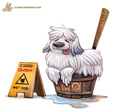 Daily Paint #1122. Mop Dog, Piper Thibodeau on ArtStation at https://www.artstation.com/artwork/zQK1L