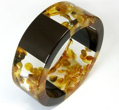 Triple Amber Bracelet, Clear and Black Resin Bangle with Amber, Original Baltic Amber Jewelry   Handcrafted Promise - Handmade Designer Earrings, Necklaces, Rings and Bracelets