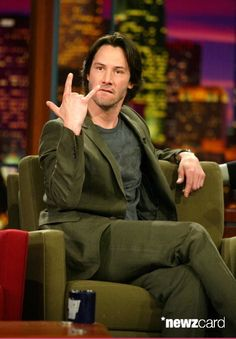 Actor Keanu Reeves appears on 'The Tonight Show with Jay Leno' at the NBC Studios on May 8, 2003 in Burbank, California. (Photo by Kevin Winter/Getty Images)