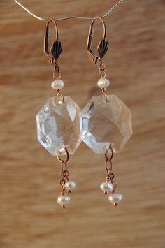 Bronze Jewelry, Beaded Jewelry, Jewellery, Jewelry Ideas, Jewelry Crafts, Celtic Knot Jewelry, Chandelier Crystals, Pearl Earrings, Drop Earrings