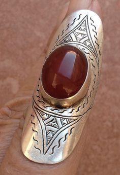 Tuareg Pure Silver Ring with Carnelean 1.8 cm US size: 8 BY INEKE HEMMINGA