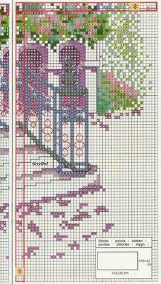 PATRONES PUNTO DE CRUZ GRATIS: Gráfico de un lindo paisaje arquitectónico a punto de cruz
