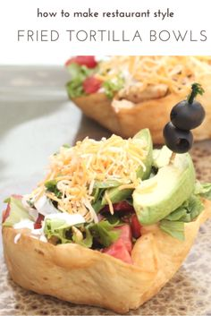 how to make restaurant style fried tortilla bowls for taco salad Taco Shell Bowls, Taco Salad Shells, Taco Salad Bowls, Taco Salad Recipes, Mexican Food Recipes, Ethnic Recipes, Taco Salads, Healthy Recipes, Coconut Flour Tortillas