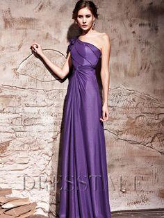 Chiffon A-line Floor-length One Shoulder Flower(s) Purple Prom Dresses, US$94.99
