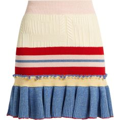 Alexander McQueen Ruffled-hem striped wool and silk-blend skirt ($609) ❤ liked on Polyvore featuring skirts, woolen skirt, ruffle hem skirt, stripe skirts, wool skirt and embellished skirt