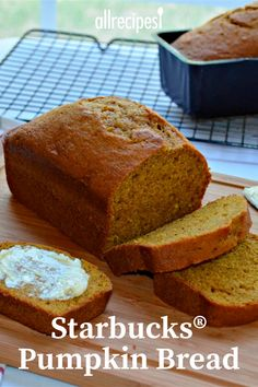 If you're a fan of the pumpkin bread at Starbucks®, this copycat recipe yields a moist, flavorful loaf that mimics the real thing. Best Pumpkin Bread Recipe, Starbucks Pumpkin Bread, Healthy Pumpkin Bread, Pumpkin Recipes, Fall Recipes, Holiday Recipes, Mini Desserts, Baking Recipes, Cake