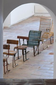 A selection of aluminium chair designs by Marcel Breuer from the 1930s. Second from left is a WB 301 chair from 1934. The ones either side are versions of the same design.