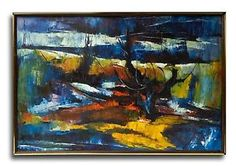MODERNIST SIGNED ABSTRACT ACTION OIL PAINTING ON CANVAS