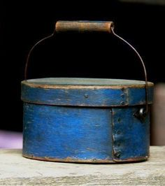 2.75in tall x 4.75in wide (box) Miniature Wood Bail Handled Country Pantry Box Old Dark Blue Sold $850.00 Ebay July 29, 2015