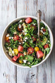 Early summer salad with kale, arugula, watermelon and farro | HonestlyYUM (honestlyyum.com)