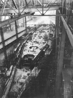 The famous battleship Bismarck under construction at Blohm and Voss in Hamburg, Germany