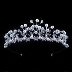 4cm High Pearl Wedding Bridal Bridesmaid Prom Party Crystal Rhinestone Tiara