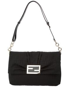Black Zucca bag from Fendi featuring a small leather and silver-tone chain shoulder strap, a top flap fastening with a black and silver-tone Fendi logo buckle, a concealed press stud fastening and an all-over tonal black Fendi monogram.